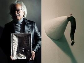 "(left) Art works: ""PENSIERINI"", 2010   Leather jacket - Hosio   Turtleneck - Obvious Basic   (right) Art works: ""QUELLO che GUARDAVA lontano"", 2010"