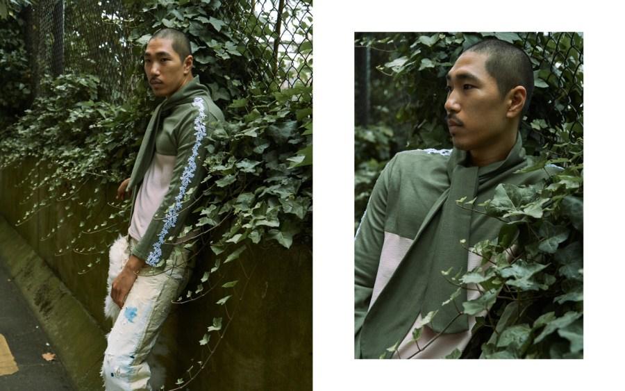Shinook wears top JAZZ GRANT, trousers JOSEPH STANDISH
