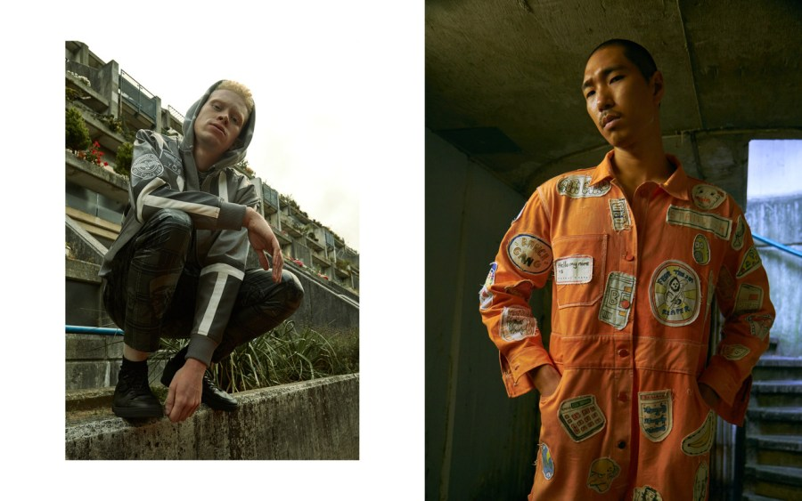Jordan wears jacket BOY LONDON, jumper QUICKSILVER, trousers 8DIX, shoes MODEL'S OWN Shinook wears jumpsuit JOSEPH STANDISH