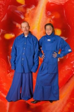 Kim and Paul wearing Nada van Dalen
