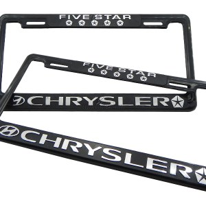 SET DE 2 MARCOS PORTA PLACAS CHRYSLER FIVE STAR, TAMAÑO NACIONAL
