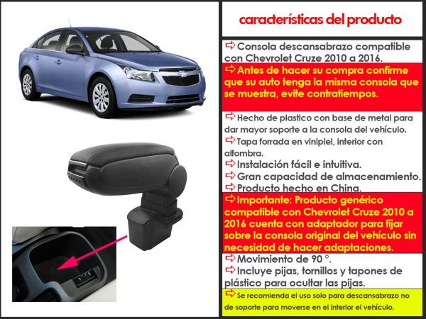 Consola descansabrazo compatible con Chevrolet Cruze 2010 a 2016 cuenta con adaptador para instalarse sobre la consola original en el espacio de la consola original, gran capacidad de almacenamiento, brinda comodidad al conducir y mejora la apariencia interior del vehículo.