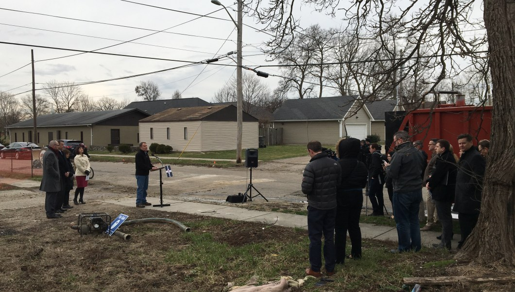 Mayor Joe Hogsett, community partners demolish problem property in the King Park neighborhood