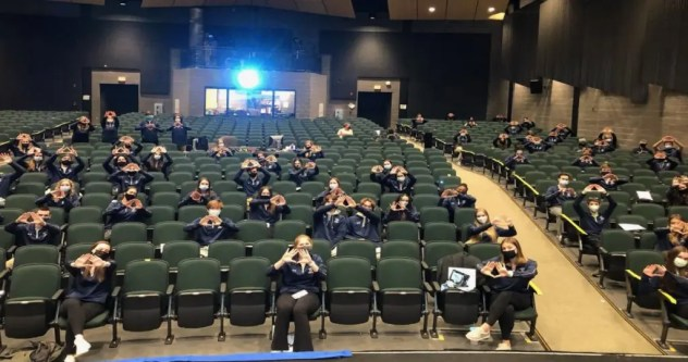 The KP DECA chapter's first in-person event of the year was watching the State Career Development Conference Awards. (Photo courtesy King Philip Regional School District)