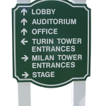 Wayfinding Sign Made with King ColorCore® Green/White/Green
