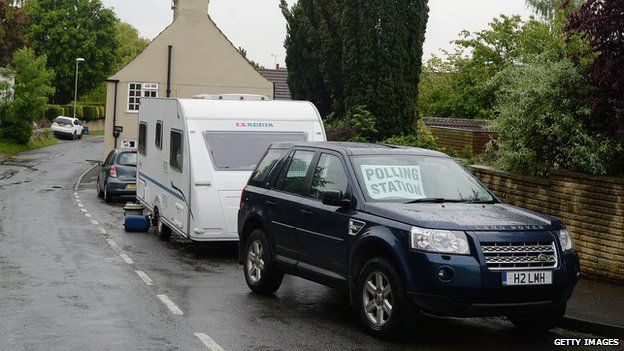 A landrover towing a caravan with a Polling Station sign in the windscreen