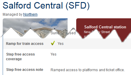 National Rail Enquiries' station page for Salford Central station