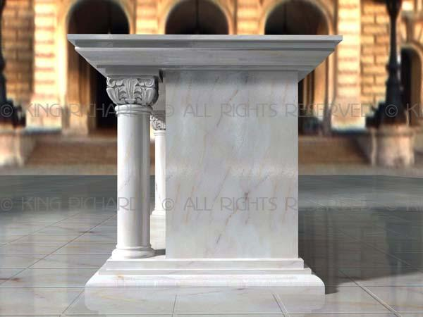 Traditional  White Carrara Marble Altar Table With Carved