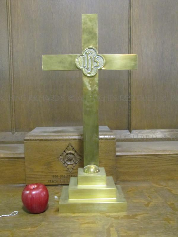 AltarCrossesCrucifixes  Antique Brass Altar Cross with IHS