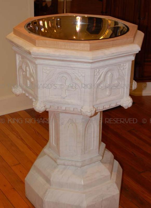 Gothic New Hand Carved Marble Baptismal Font