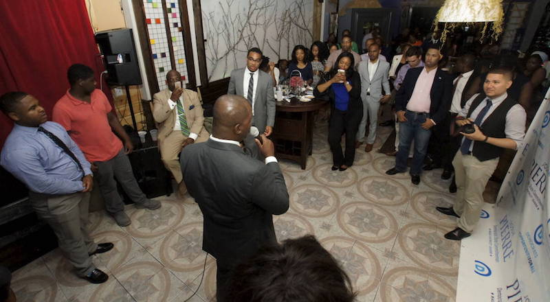Josh Pierre addresses the well wishers last night at his fundraiser.