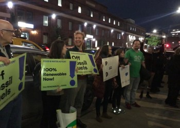 Green New Deal protesters outside U.S. Rep. Hakeem Jeffries' State of the District speech on MOnday. Photo by Kimari Clarke.