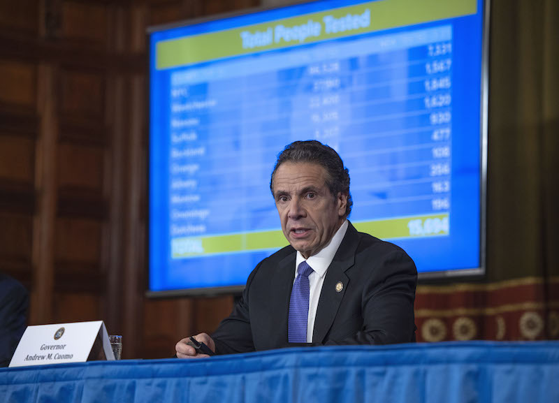 April 1, 2020 - Albany, NY - Governor Andrew M. Cuomo provides a coronavirus update during a press conference in the Red Room at the State Capitol. (Mike Groll/Office of Governor Andrew M. Cuomo)