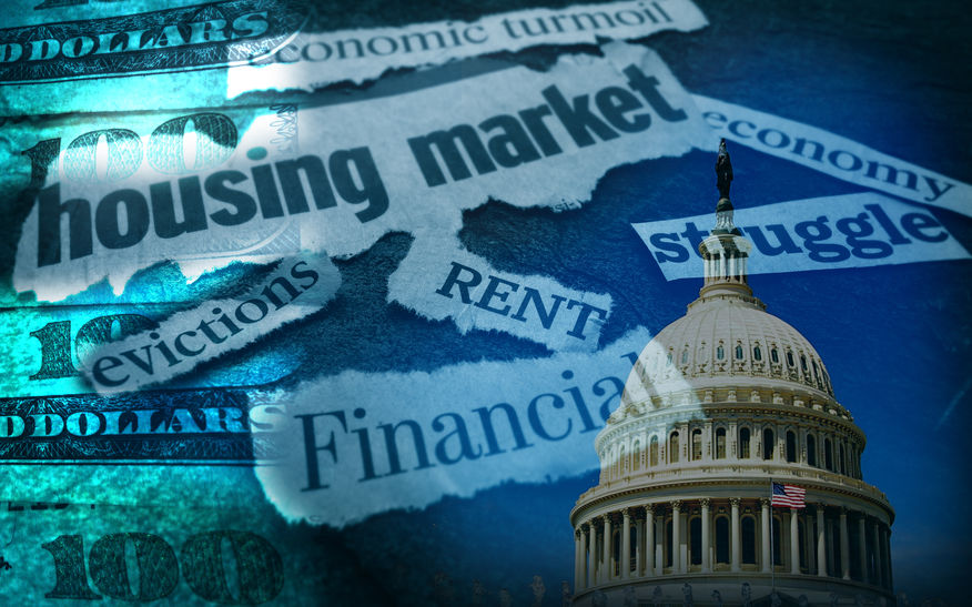 Rent, Evictions and other assorted CoronaVirus economic news headlines with US Capitol and money. Illustration from 123rf.