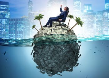 Offshore accounts concept with businessman