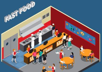 Fast food restaurant with employees of kitchen cashiers waitresses and visitors interior elements isometric vector illustration
