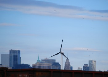 The lone wind turbine at the SBMT in Sunset Park. Photo by Ariama C. Long