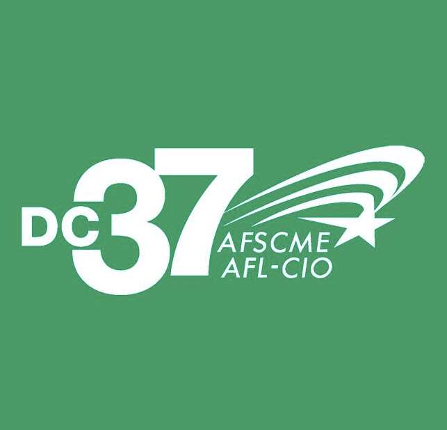 Facebook photo of District 37 Union logo. https://www.facebook.com/District-Council-37-AFSCME-131724126872982/photos/a.136685699710158/141089842603077