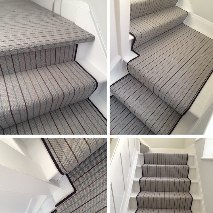 Grey Wool Carpet With Bound Runner To Stairs Kings Interiors