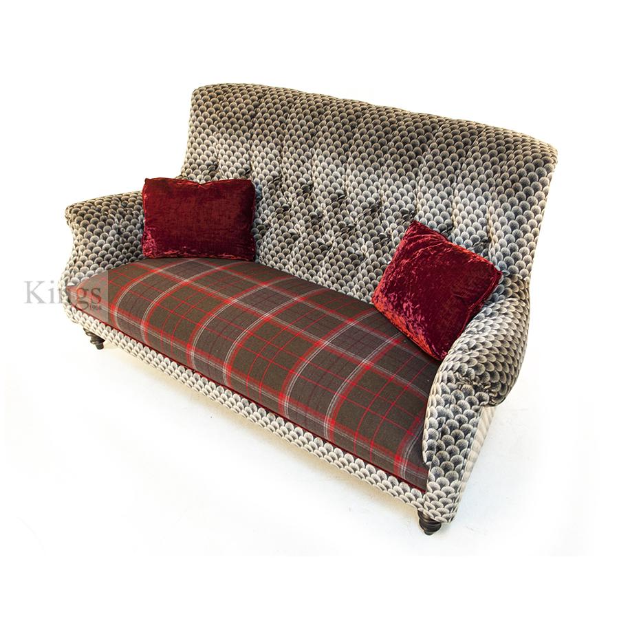 chesterfield corner sofa velvet amazon side table john sankey holkham red velvet, wool plaid and silver 5
