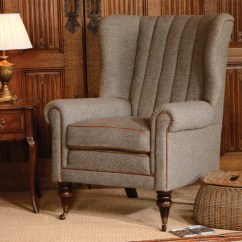 Leather Wing Chairs Uk Lazy Boy Lift Tetrad Upholstery Harris Tweed Dunmore Chair
