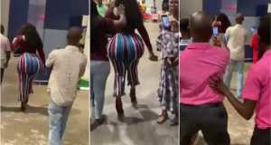 Lady with fat ass drops in Ghana, Kotoka international airport