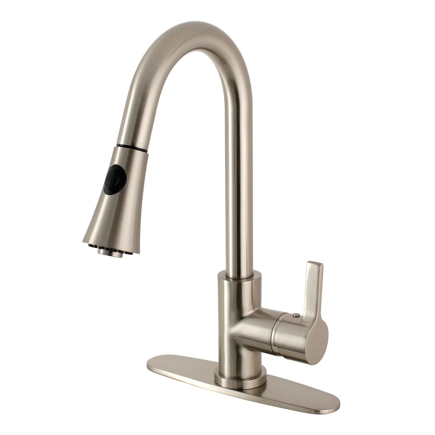 gourmetier ls8728ctl continental single handle pull down kitchen faucet brushed nickel