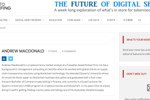 A screenshot of Chance Macdonald's author page on a cryptocurrency site. MacDonald now goes by his middle name Andrew.