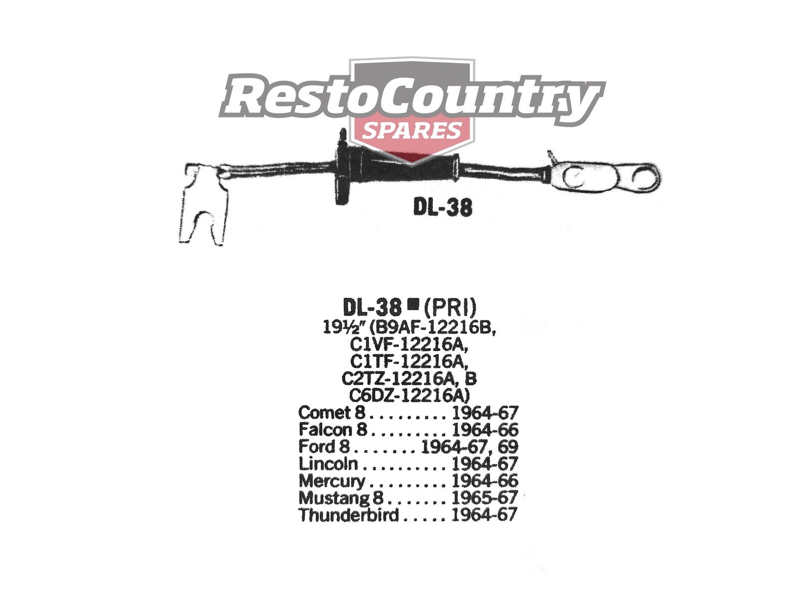 Ford Distributor Primary Lead Ignition Wire Dl 38 V8 Comet Lincoln Mustang