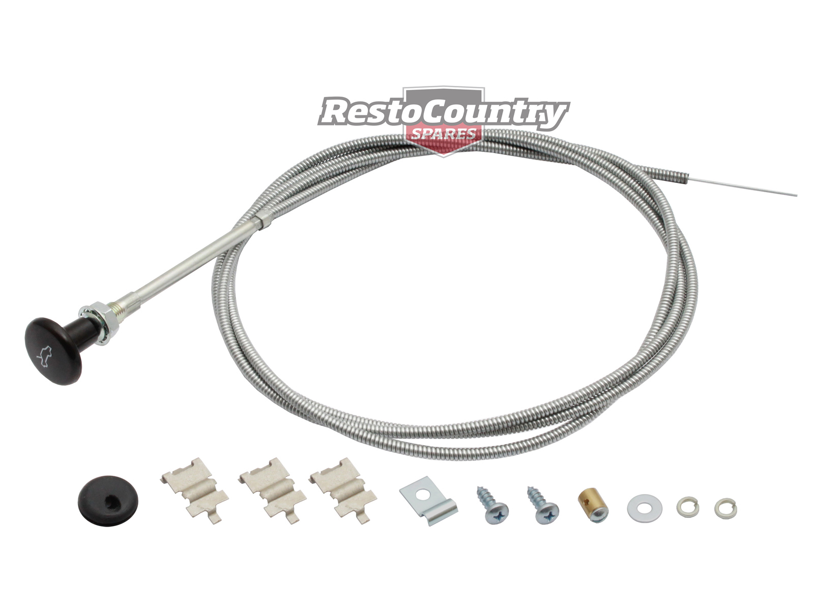 Holden Bonnet Release Cable + Fitting Kit ROUND KNOB HJ HX