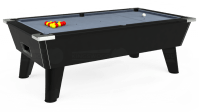 7ft Omega Pool Table in Black / Elite-Pro Bankers Grey cloth