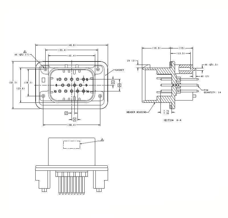 14 pole pcb Ampsale series connector 776262-4