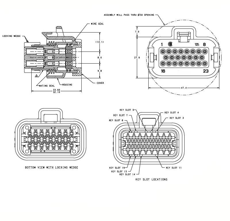 770680-1 23 hole female automotive ecu connector