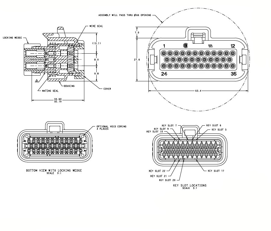 776164-5 35 pin ecu waterproof cable wire connectors