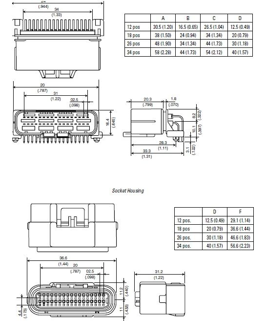 34 pos PCB Standard Pinheader ECU automotive connectors