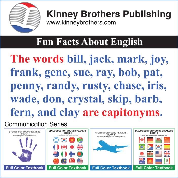 Kinney Brothers Publishing capitonyms