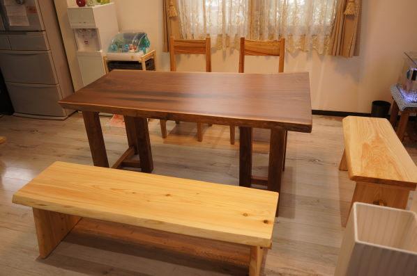 天然木一枚板ダイニングテーブルセット