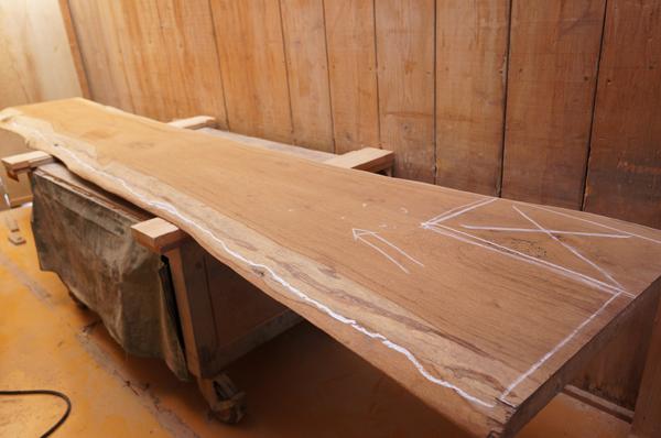 チーク天然木一枚板カウンター