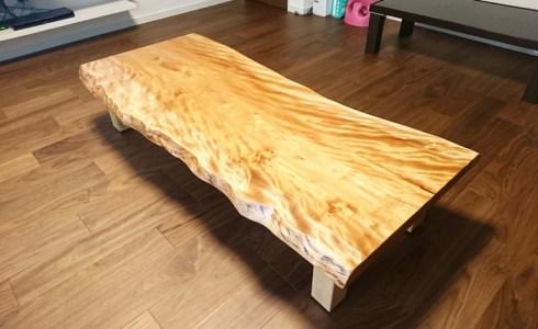 カバ桜一枚板ローテーブル