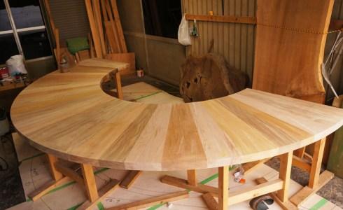 天然木円形カウンター