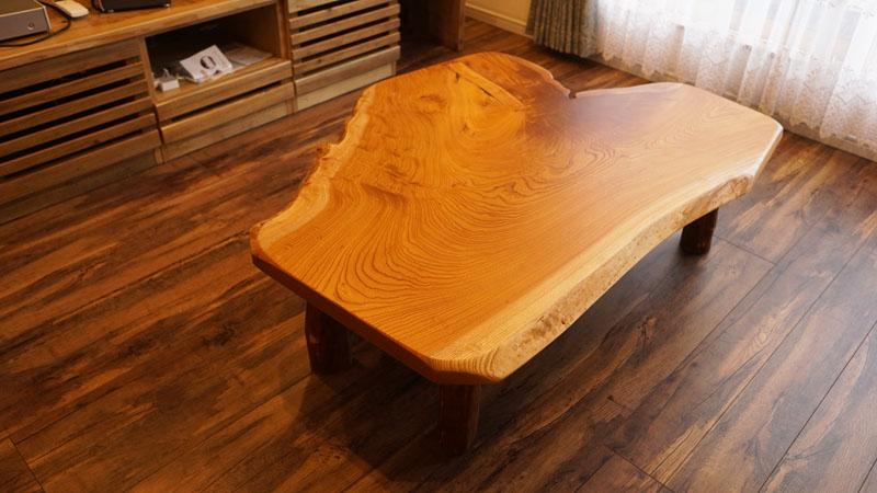 欅一枚板ローテーブル