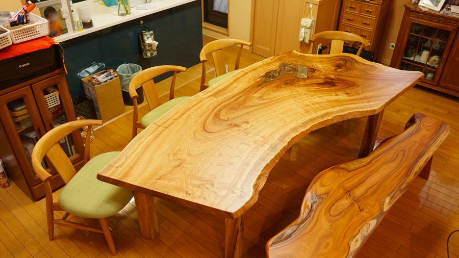 変形一枚板ダイニングテーブル