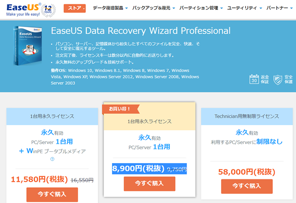 EaseUS Data Recovery Wizard Professionalのライセンス