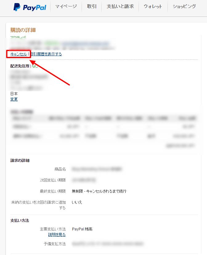 PayPal解約
