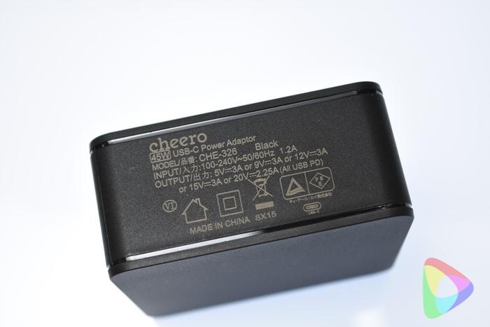 cheero USB-C PD Charger 45Wの仕様