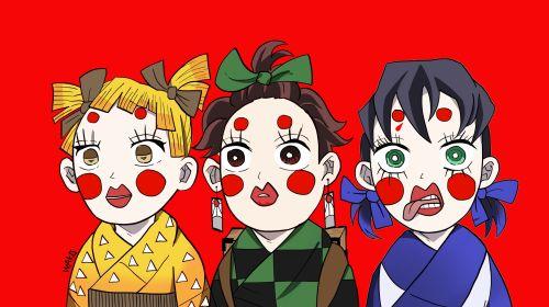 鬼滅の刃「かまぼこ隊」アニメ2期 ぶさいくな3人娘の絵