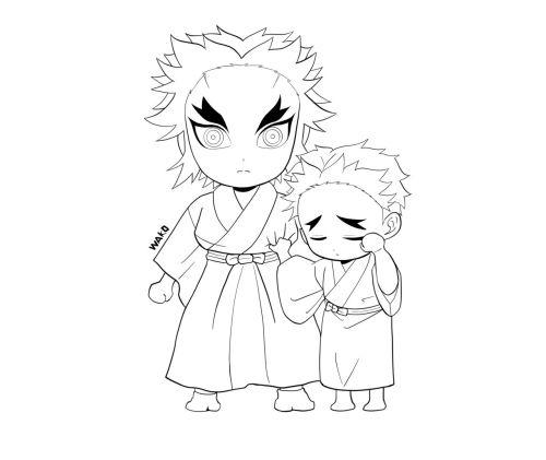 煉獄杏寿郎と煉獄千寿郎 塗り絵