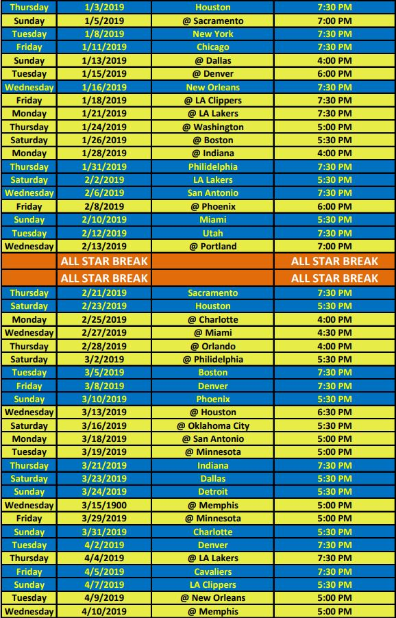image relating to Cleveland Cavaliers Printable Schedule titled Warriors Broadcast Routine KINS 106.3 FM