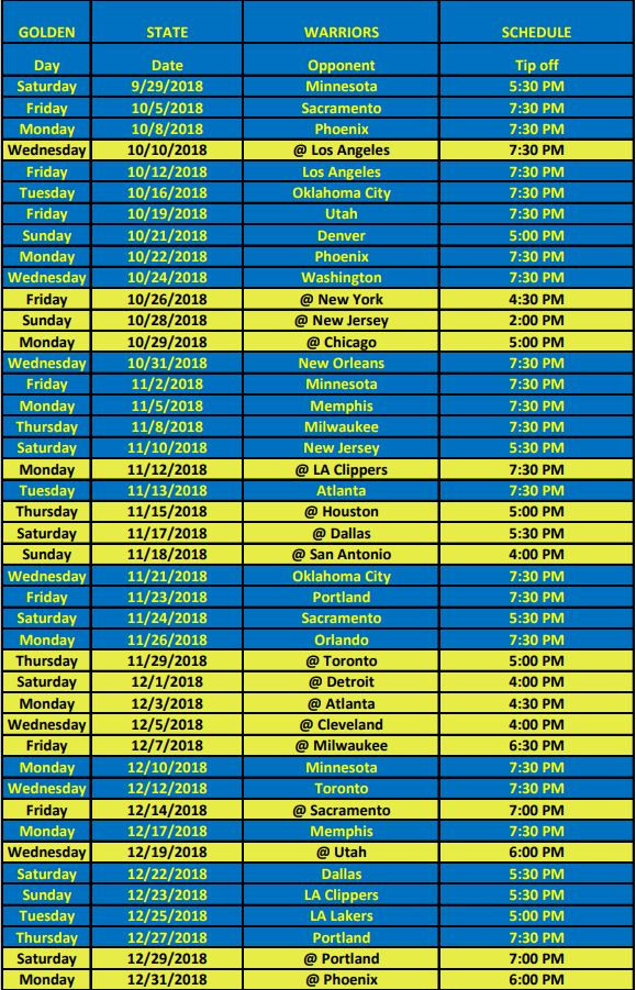 graphic regarding Warriors Schedule Printable titled Warriors Broadcast Routine KINS 106.3 FM