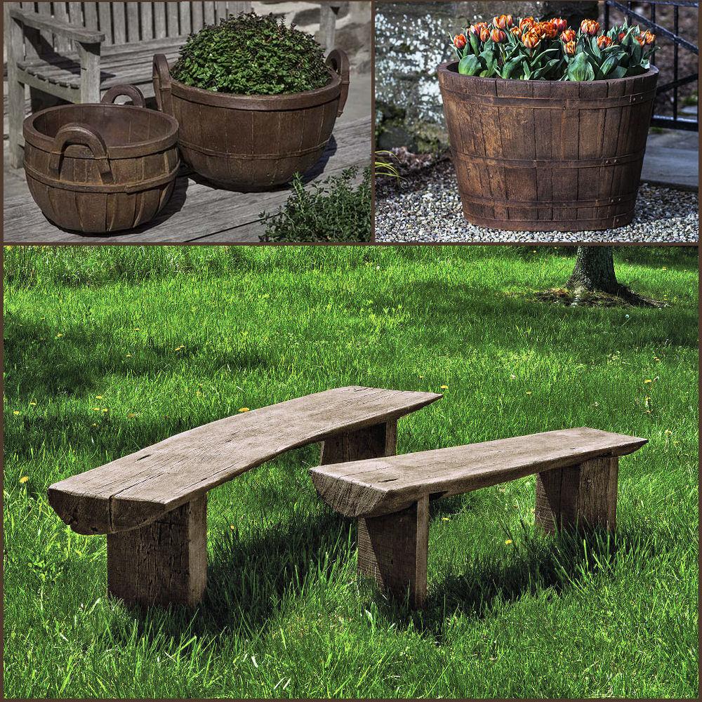 bench planters patio set